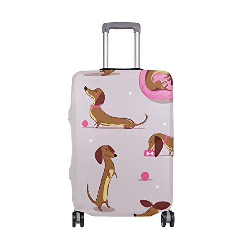 ALINLO Funny Dachshund Pattern Luggage Cover Baggage Suitcase Travel Protector Fit for 18-32 Inch