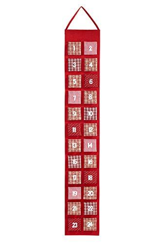 HEITMANN DECO Adventskalender zum Aufhängen und selbst Befüllen - Filz-Adventskalender - Rot, Beige, Weiß