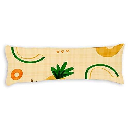 Funda de almohada de algodón de 150 x 50 cm con cremallera, diseño de color amarillo claro, bonito cuerpo de piña, funda de almohada decorativa floral para cama para niños y niñas
