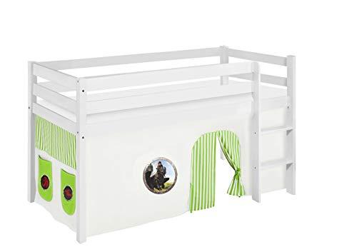 LILOKIDS JELLE Lit de jeu avec rideaux et sommier à lattes Vert 90 x 190 cm