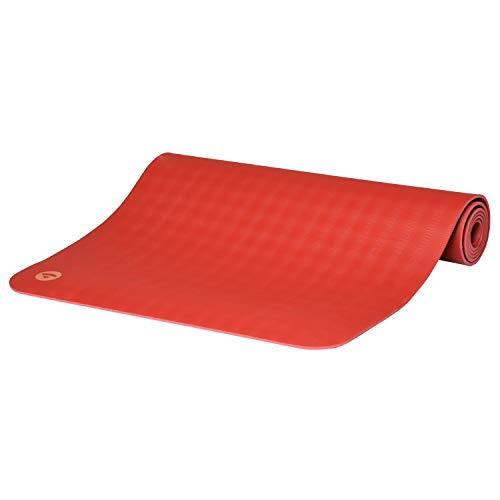 Ultra Grip Kautschuk-Yogamatte ECOPRO DIAMOND, Premium-Matte, extrem rutschfest & extra stark, 100% Naturkautschuk, Ökotex 100, 6mm, auch für Hot Yoga, Gymnastik und Pilates (karmin-rot)