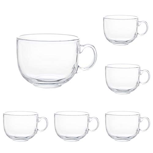 16oz Glass Jumbo Mugs With Handle For Coffee, Tea, Soup,Clear Drinking Cup,Set of 6