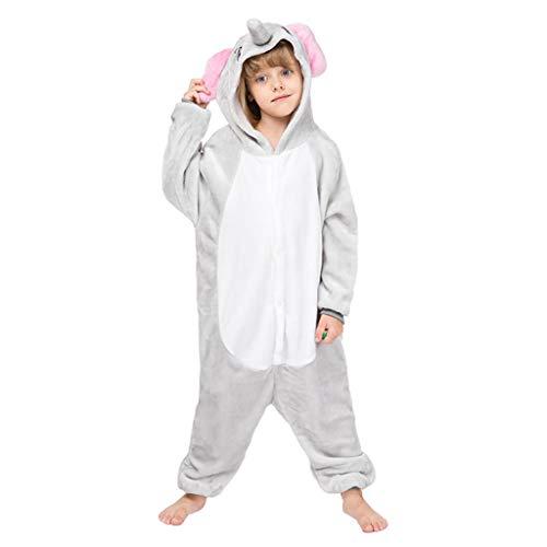 YUANY Los niños de Dibujos Animados Gris Elefante Ropa de Dormir Animal Bodies Capucha Fleece Supersuave Franela Pijamas de una Pieza,Elephant-100