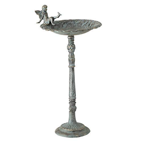 CasaJame Vogeltränke auf Fuß mit Elfe Fee L30cm B30cm H64cm grün Gusseisen Vintage Look