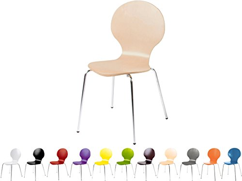 Stapelstuhl Bistrostuhl Stuhl Esszimmerstuhl Küchenstuhl Design Metall Holz stapelbar sehr belastbar Marcus (Buche)