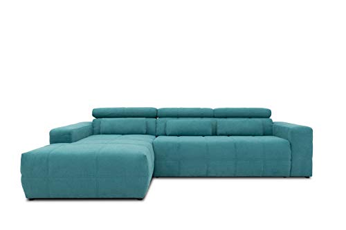 DOMO Collection Brandon Ecksofa, Sofa mit Rückenfunktion in L-Form, Polsterecke Eckgarnitur, 288 x 175 x 80 cm, Polstergarnitur in türkis
