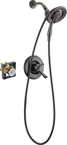 Delta Faucet Linden 17 Series Dual-Function Shower Faucet, Shower Trim Kit with 4-Spray In2ition 2-in-1 Dual Hand Held Shower Head with Hose, Venetian Bronze T17294-RB-I (Valve Included)