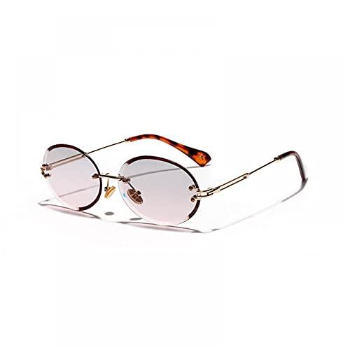 ZZOW Gafas de sol ovaladas sin montura para mujer, lentes de corte graduales, clásicos, gafas de sol para señoras