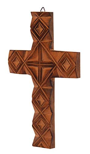 The StoreKing Wooden Wall Hanging French Cross 12 Inches with Celtic Hand Carvings Religious Cross Home Living Room Decor (Design7)