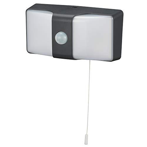 オーム電機 monban LEDセンサーウォールライト コンセント式 ブラック LS-AH26J4-K 06-4213 OHM