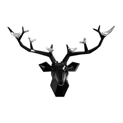 MNYHJDS Deer Head Sculpture Modern Deer Head Ornament Animal Head Wall Decoration Pendant Three-dimensional Home Wall Hanging (White) J (Color : BLACK, Size : 55.5 * 13.5 * 40CM)