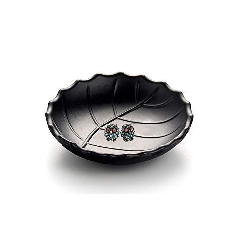 schwarzer Ring Teller Schmuck Tablett Schlüssel Ringschale Ringhalter Veranstalter, Kommode Dekor Schlüssel Teller Schmuck Schüssel dekorative Schale oval (Blatt)