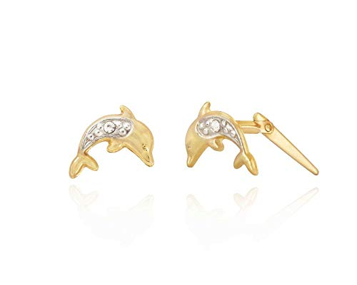 9ct two-tone Gold Pave Dolphin Andralok stud earrings/novelty gift box included