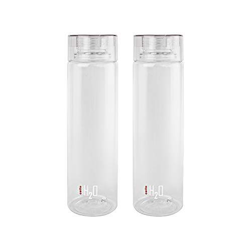 Cello H2O Round Plastic Water Bottle, 750ml, Set of 2, Clear