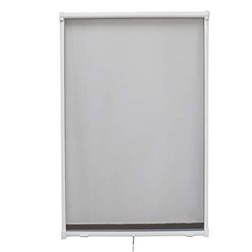 Fliegengitter Rollo Fenster Insektenschutzrollo mit Aluminum Rahmen Individuell Kürzbar,100 * 160cm,Weiß