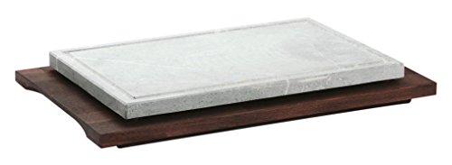 Bisetti 99114 Plaque de Cuisson rectangulaire en Bois de hêtre avec Finition wengé Blanc