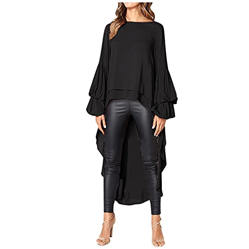 BIBOKAOKE Camiseta de manga larga para mujer, de gasa, asimétrica, cuello redondo, informal, suelta, para otoño e invierno