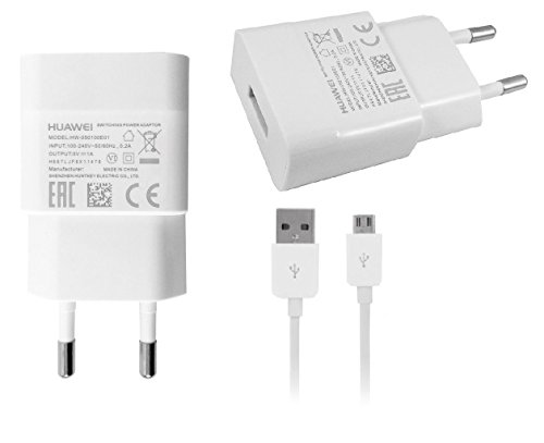 HUAWEI Original Ladeadapter HW-050100E01 + original Datenkabel Ascend P1 /P2 Travelcharger Ladegerät in Weiß