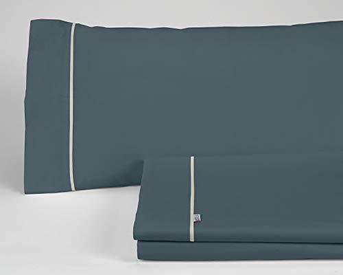 ES-TELA - Juego de sábanas LISOS BIÉS color Gris (4 piezas) - Cama de 150 cm. - 50% Algodón / 50% Poliéster - 144 Hilos