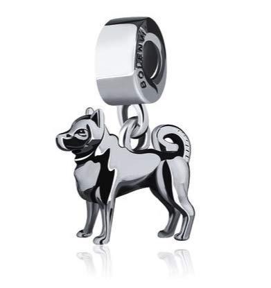 Bolenvi Shiba Inu Shibainu Dog - Colgante de plata de ley 925 con clip para pulseras o collares similares