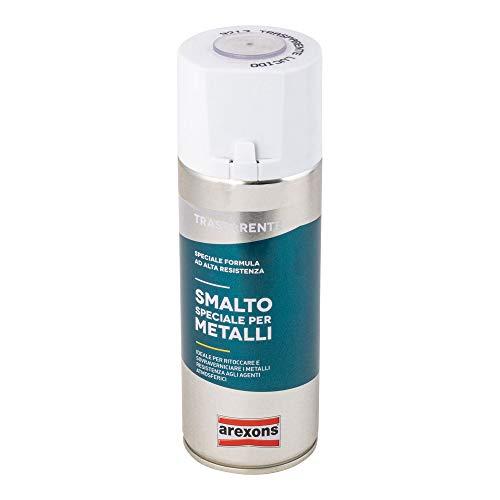 AREXONS SMALTO SPECIALE PER METALLI Smalto spray Trasparente, 400 ml vernice spray universale, smalto acrilico resine di alta qualità, essiccazione rapida, bomboletta spray, uso facile