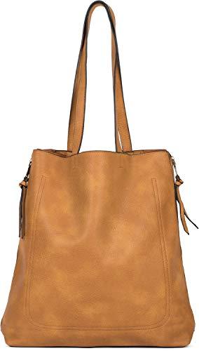 styleBREAKER Damen Tote Bag Handtasche mit seitlichen Reißverschlüssen, Shopper, Schultertasche, Notebook Tasche 02012310, Farbe:Curry