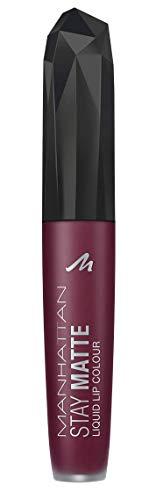 Manhattan Stay Matte Liquid Lip Colour, Matter, wisch- und wasserfester Lippenstift für langanhaltende Farbintensität, Farbe Upper East Plum 610, 1 x 5,5ml