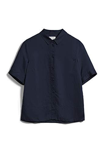 ARMEDANGELS AAGAT - Damen Bluse aus Tencel™ Lyocell-Leinen Mix M Night Sky Bluse Kurzarm Relaxed Fit