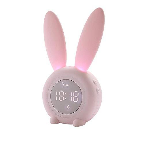 JieMiTe Tragbarer niedlicher digitaler Wecker in Kaninchenform mit LED-Nachtlichtfunktion Tischwanduhren für die Inneneinrichtung-Rosa_EIN