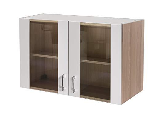 MMR Hängeschrank Küche DERRY, Glashängeschrank, 2-türig, Glastüren, Glasfront, Breite 100 cm, verstellbarer Einlegeboden, Perlmutt Weiß