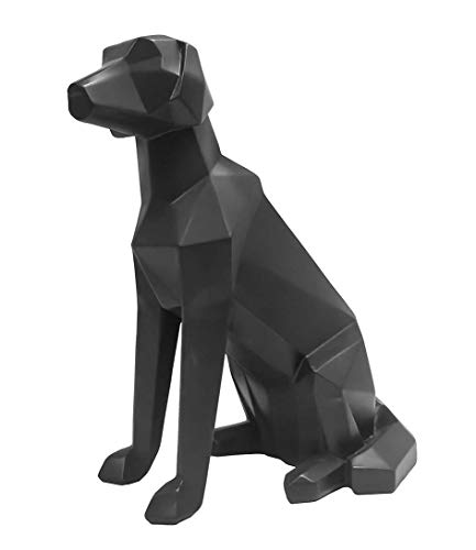 Present Time - Statue Chien Noir Assis Origami