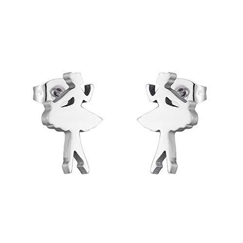 Orecchini ballerine di design dorati e argento con chiusura a farfalla, per ragazze e donne, regali originali in elegante scatola per gioielli, colore: argento, cod. 24-AE-480
