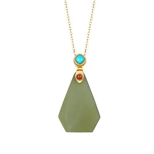 THTHT halsketting van 925 sterling zilver, retro-ketting met jade hanger, verguld, modieus, geometrisch, eenvoudige hanger, Chinese stijl, geschenk voor je vriendin