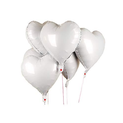CozofLuv 25 Stück 18 Zoll Herzballons Folienballons Luftballons Herzform Heliumballons Herzluftballons für Geburtstag Valentinstag Hochzeit Verlobung (Weiß)