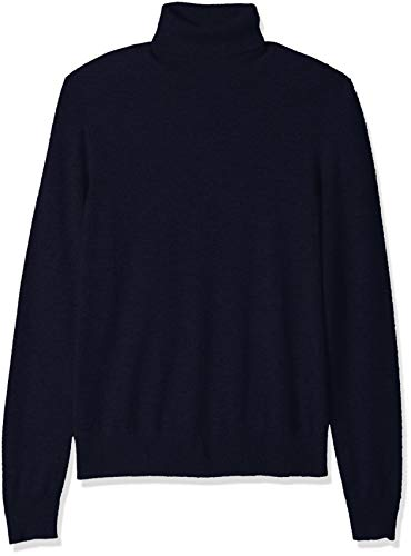 Amazon Brand - BUTTONED DOWN Men's 100% Premium Cashmere Turtleneck Sweater, Midnight Navy, Small