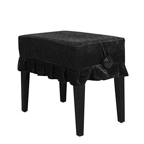 Piano Seat Cover, Lace Decorated Thickened Gold Velvet Piano Single Seat Bench Dust Proof Cover 21.7 13.8 inch(Black)