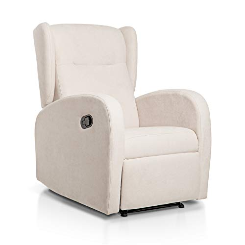 SUENOSZZZ-ESPECIALISTAS DEL DESCANSO Sillón Relax orejero Home reclinable con Pared Cero tapizado en Tela Antimanchas Tela Beige