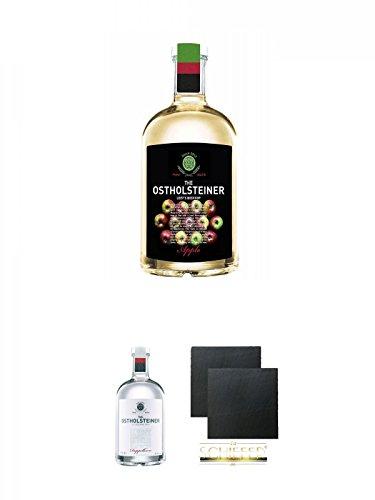 The Ostholsteiner Apfelkorn 25prozent 0,7 Liter + The Ostholsteiner Doppelkorn 38prozent 0,7 Liter + Schiefer Glasuntersetzer eckig ca. 9,5 cm Ø 2 Stück