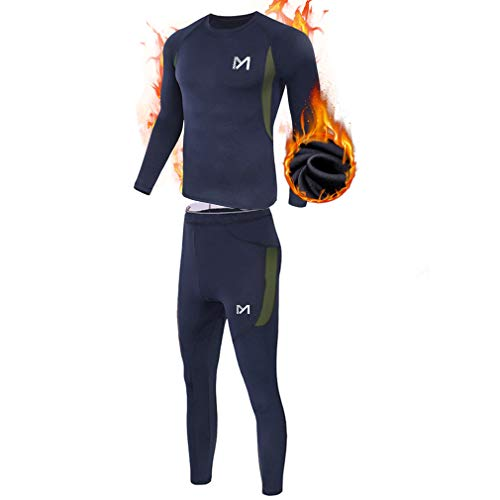 Men's Thermal Underwear Set, Sport Long Johns Base Layer for Male, Winter Gear Compression Suits for Skiing Running (Blue, XXL)