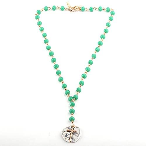 Joyería bohemia de moda de moda 6 Mm de cristal de cristal de enlace de cuentas de cristal colgante de cruz collares para mujeres collar étnico longitud 40Cm