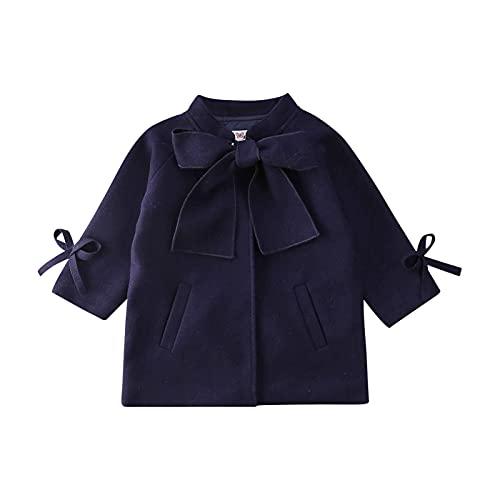 Hinzonek Chaqueta de invierno con nudo de lazo para niñas pequeñas y niñas, con bolsillo (4-5 Años, azul marino)