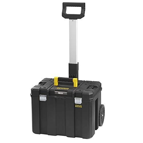 Stanley FatMax Pro-Stack Mobile Werkzeugbox (36 Liter, mit robusten Schwerlasträdern, bis 30 kg belastbar, mit Teleskophandgriff, Metallschließen, Ösen für Vorhängeschloss) FMST1-75753