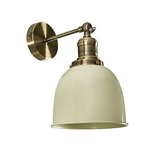 MiniSun – Aplique de Pared Vintage - Brazo Orientable - Latón Antiguo y Pantalla Crema Brillante - Lámpara de pared - Iluminación Interior