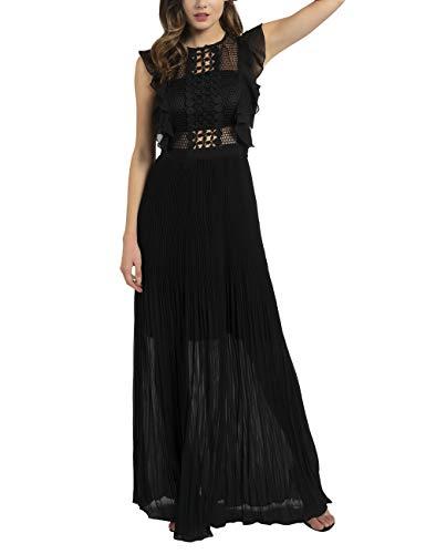 APART Elegantes Damen Kleid, Abendkleid, Maxikleid, plissiert, mit Netz-Oberteil und eingearbeitetem Bandeau, schwarz, 36