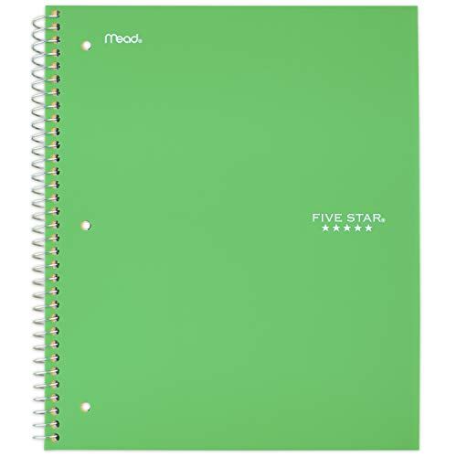 "Five Star Spiral Notebook, 1 Subject, College Ruled Paper, 100 Sheets, 11"" x 8-1/2"", School, Wired, Green (72055)"