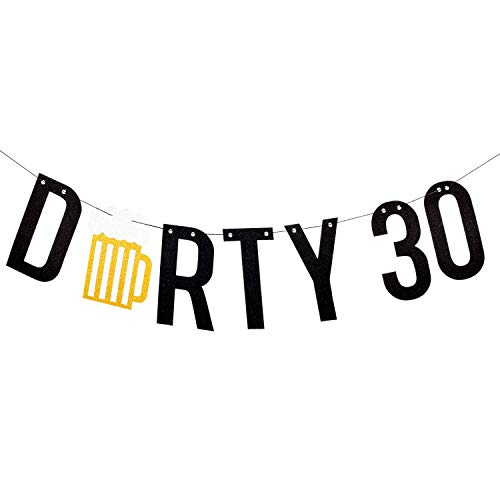 Dirty 30 Birthday Decorations - Black & Gold Glitter Beer Banner - 30th Birthday Decorations for Him - Happy 30th Birthday - 30 Birthday Decorations for Men - Dirty Thirty Birthday Party Supplies