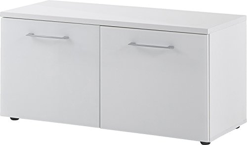 Germania Schuhbank 3762-84 GW-SCALEA in Weiß mit Glasfront, 97 x 47 x 40 cm (BxHxT)