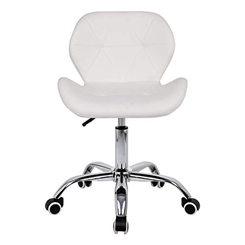 White Desk Chair for Home,Comfy Office Chair Adjustable Height Computer Chair with Chrome Base Padded Swivel Kids Chair,Home/Office Furniture