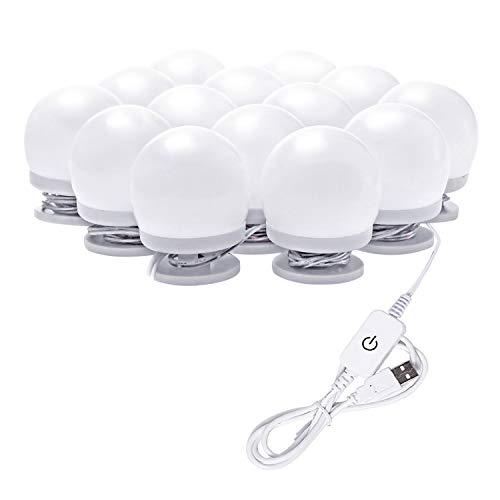 Hollywood LED Vanity Mirror Lights Kit, Dimmable Stick on USB Vanity Lights,Makeup Light Strip for for Bedroom, Dressing Room, Wedding, Party illuminating, CRI>90 (4000K Natural White 14 Bulbs 5V USB)