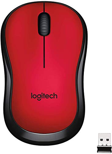 Logitech M220 Ratón Inalámbrico, Botones Silenciosos, 2.4 GHz con Nano-Receptor USB, Seguimiento Óptico 1000 DPI, Batería 18 Meses, Ambidiestro, Compatible con PC/Mac/Portátil, Rojo